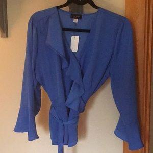 Beautiful royal blue satin blouse